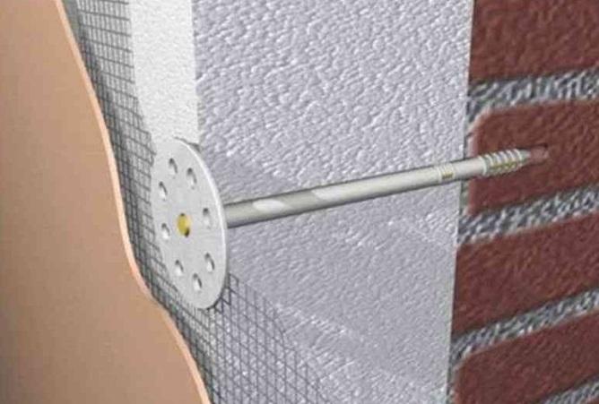 Крепление пенопласта специальными гвоздями