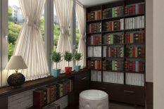 Кабинет-библиотека на балконе