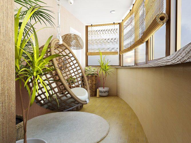 Оригинальное кресло на балконе